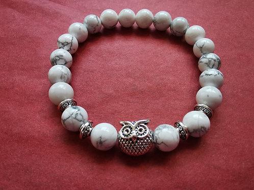 Bracelet chouette et turquoise blanche