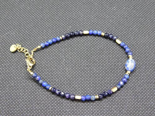 Bracelet acier et pierre naturelle