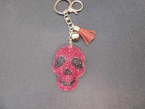 Porte clé tête de mort strass bordeaux