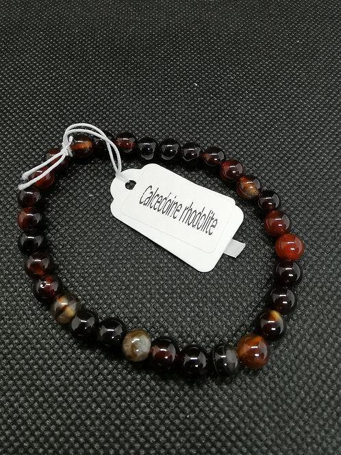 bracelet en Calcédoine Rhodolite (œil de taureau)