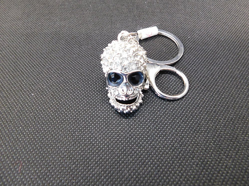 Porte clé tête de mort strass