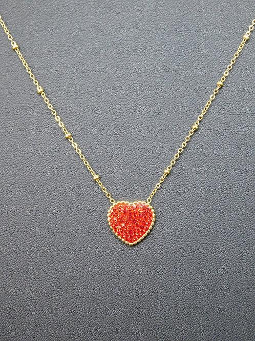 Collier acier cœur rouge