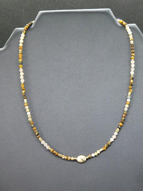 Collier acier et perles naturelles