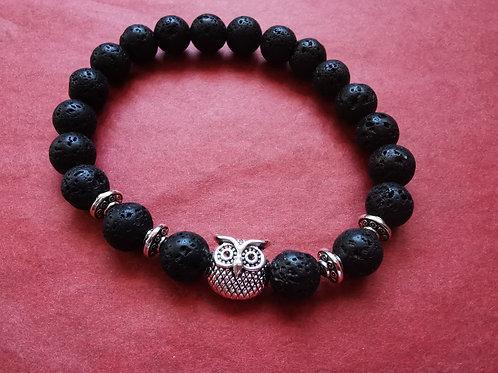Bracelet chouette pierre de lave