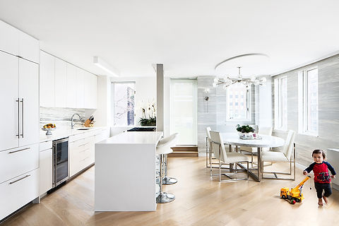 Battery Park Apartment modern kitchen and dining