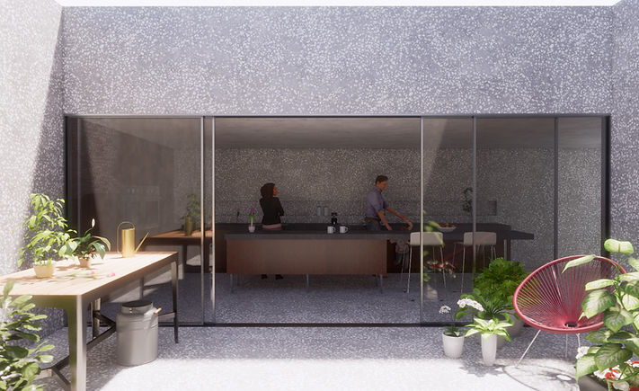 Introverted House Kitchen and Courtyard