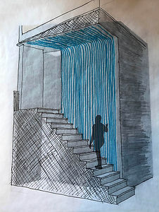 Catskills Guest House modern stair concept drawing