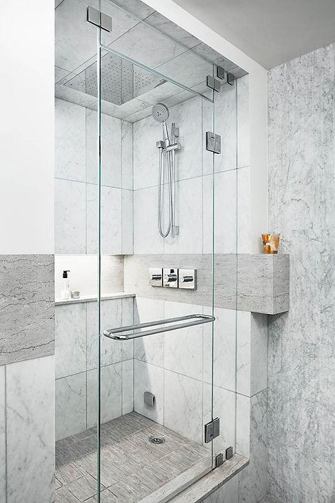 Battery Park Apartment modern bathroom shower