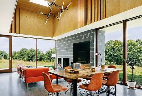 Catskills house modern interior living room towards back yard