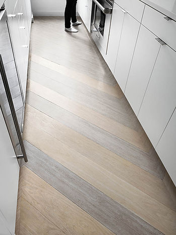 Battery Park Apartment modern kitchen floor detail