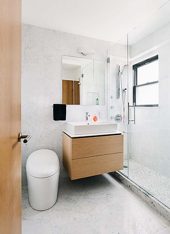 West Village Apartment modern bathroom