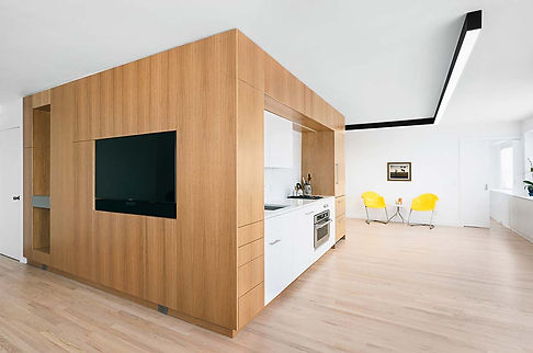 West Village Apartment modern living and kitchen