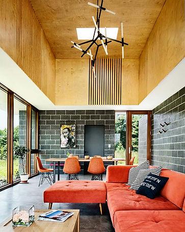 Catskills house modern interior living room towards front door