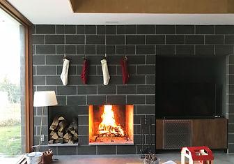 Catskills house modern interior fireplace