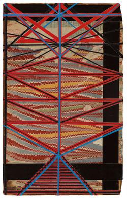 יצחק גרינפילד,      ספירות,         קולאז' על עץ,       46 X 29 cm, 2011...