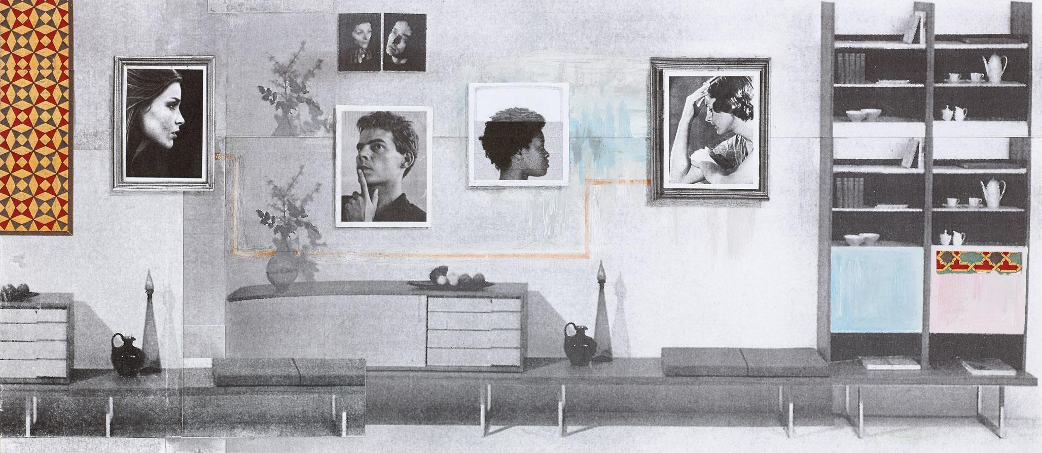 גילה גרינפילד, סיפור מסגרת, קולאז' על נייר,     19 X 44 cm, 2017