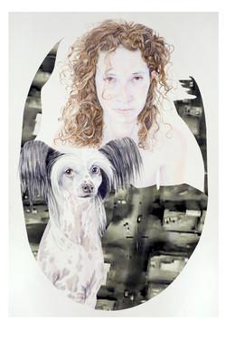 ראובן .קופרמןRoni and Moldo(פגיעה ישירה  , 2014, color pencils and photos on paper, 150X105cm