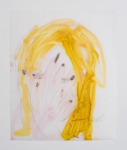 לילי כהן פרח-יה, בלונדיניות גם בוכות_2016_גרפיט ודיו צבעוני על נייר