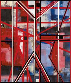 יצחק גרינפילד, לגלות את האותיות,        קולאז' על עץ,              58 X 50 cm, 2011