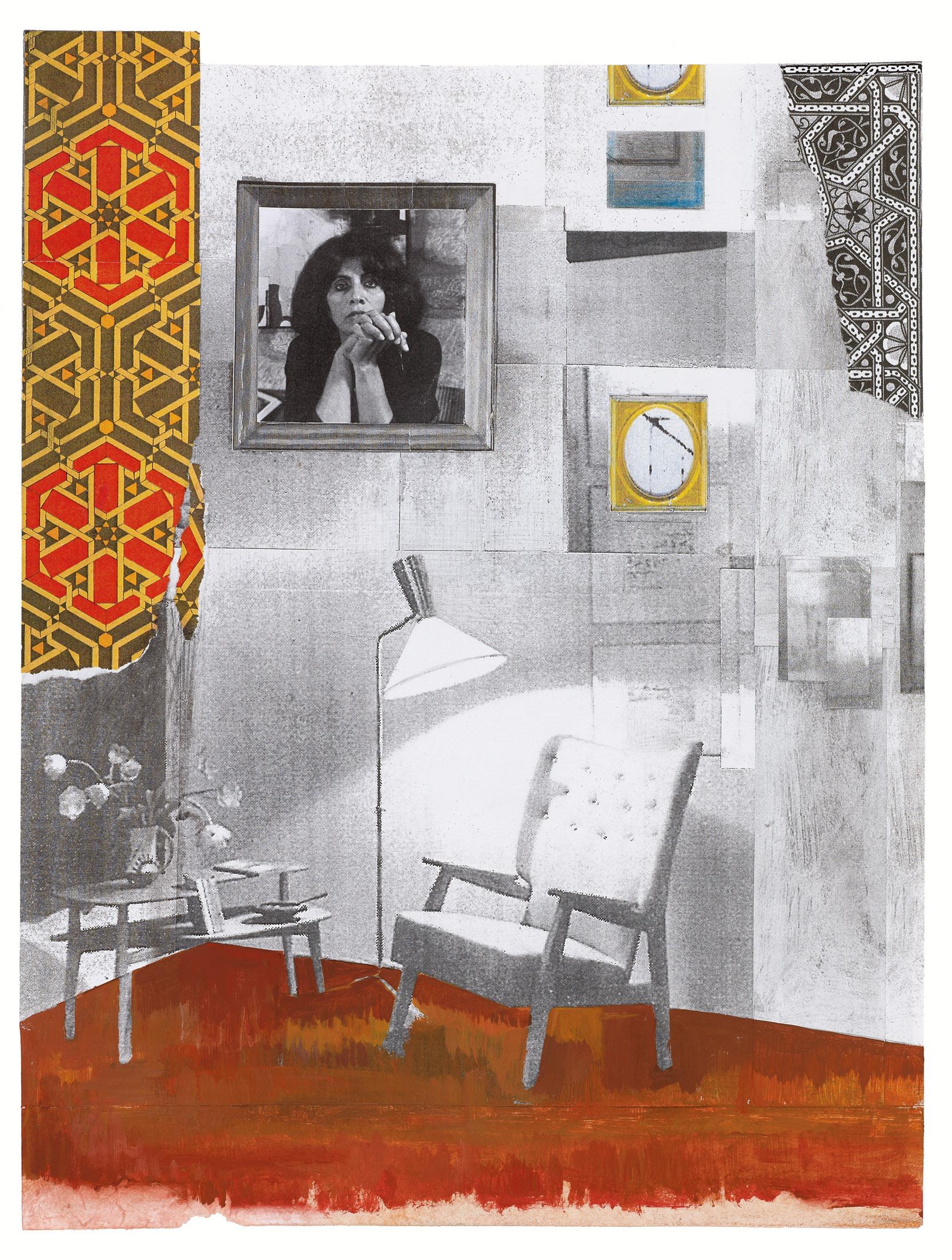 גילה גרינפילד, זמן,                קולאז' על נייר,          35 X 27 cm, 2017