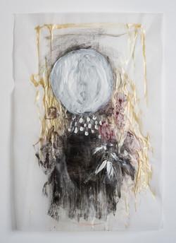 לילי כהן פרח-יה, ירח מה עשית_2_אקריליק על נייר פרגמנט
