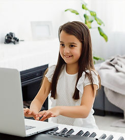 Pretty young musician playing classic digital piano at home during online class at home, s