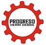 Logo de Progreso Herri Denda. Rueda dentada de color rojo con la inscripción progreso herri denda