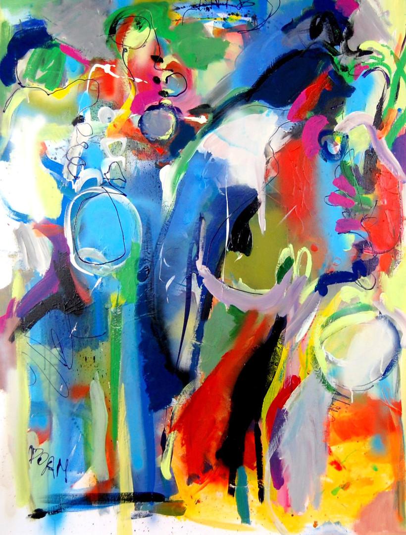 6. 'Les mots bleus' 89x116cm 2019