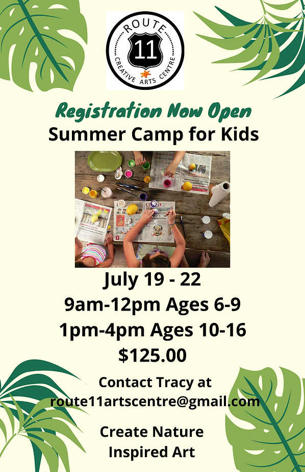 Green Tropical Leaves Summer Camp Flyer.
