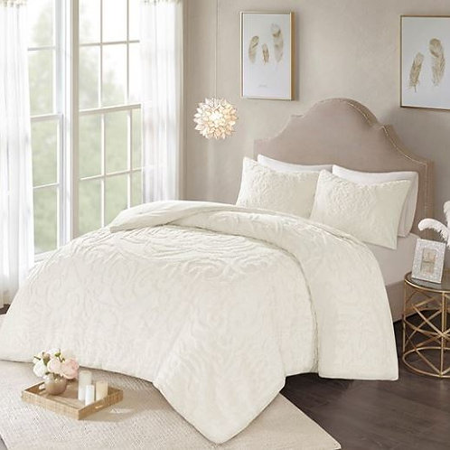 3 Piece Cotton Chenille Comforter Set - #012