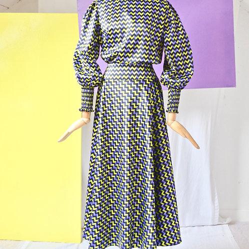 Purple geometric print dress