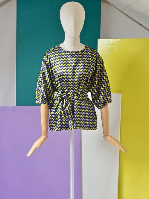 Purple geometric print top