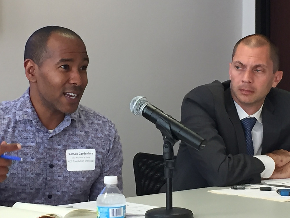 Ramon Gardenhire, AIDS Foundation of Chicago, and Doug Schenkelberg, Chicago Coalition for the Homeless and co-chair Nonprofit Impact Awareness Fund
