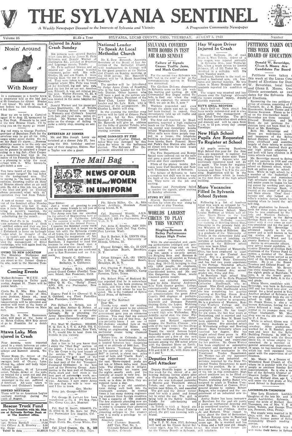 1943 aug 5 sylvania sentinel