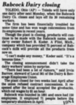 babcock dairy closing 1984