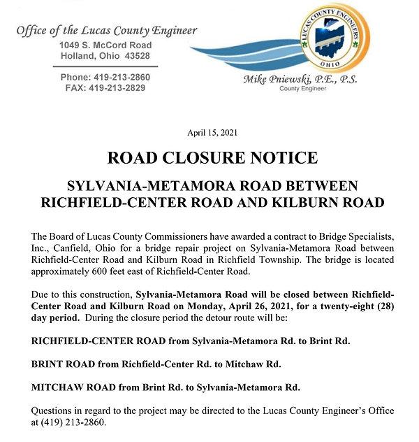 road closure april 2021