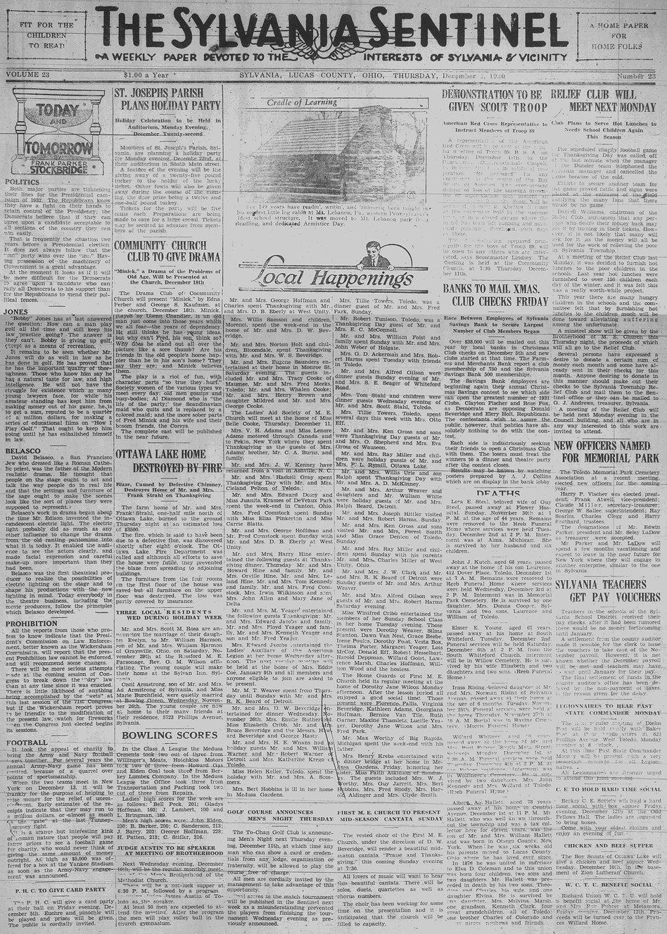 1930 dec 4 sylvania sentinel