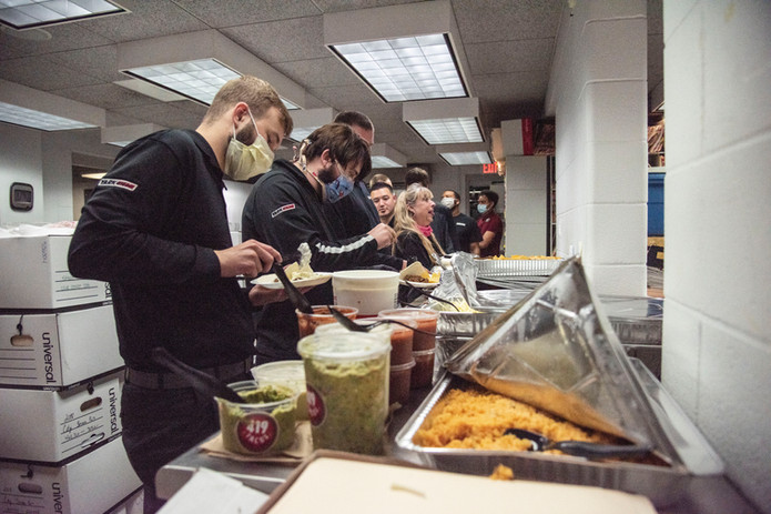 Fire Fighters Serve Lunch