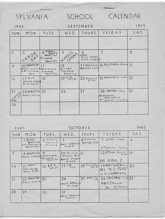 1945 Sylvania Schools Calendar