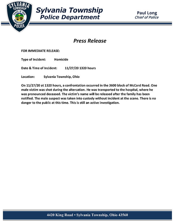 PRESS RELEASE Shooting