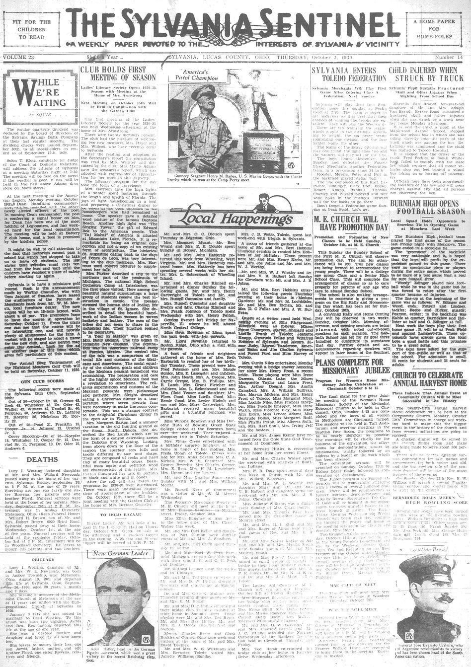 1930 oct 2 sylvania Sentinel