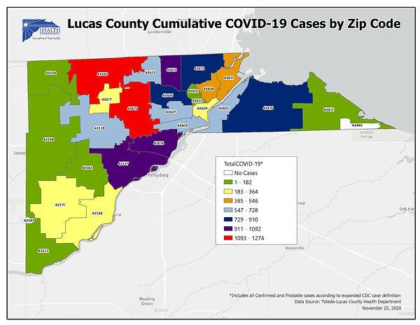 November 23 cases by zip code