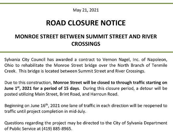 road closure may 2021