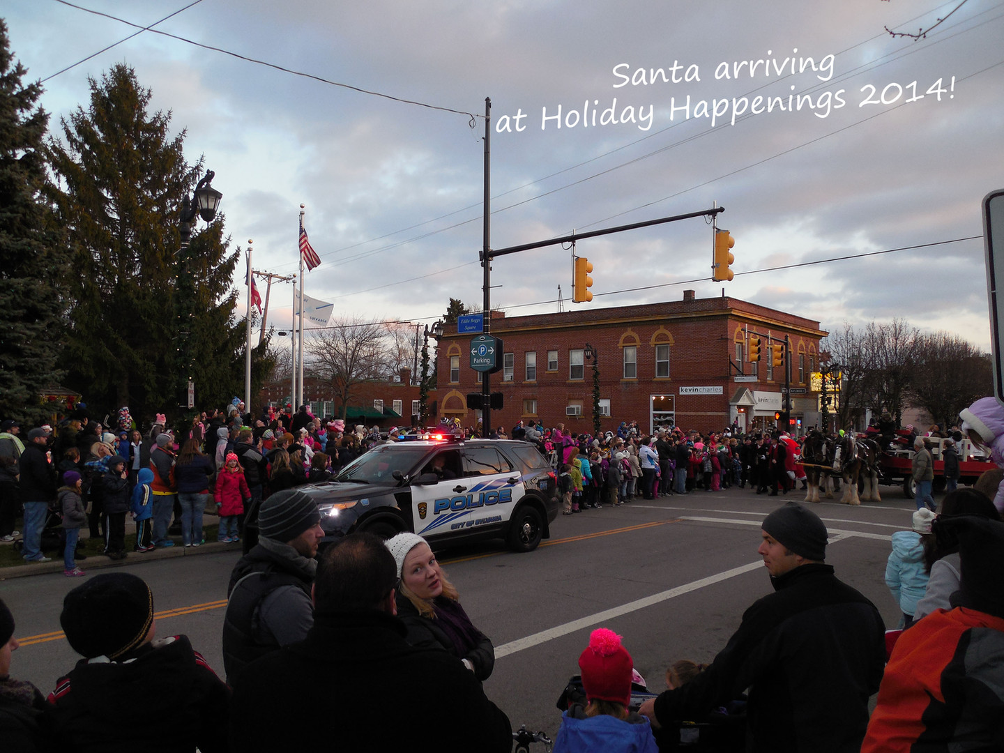 Santa arrives in the parade