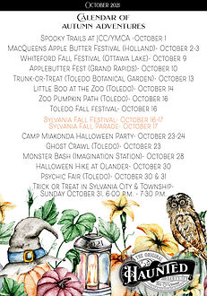 Sylvania Autumn Adventure Calendar 2021 Oct