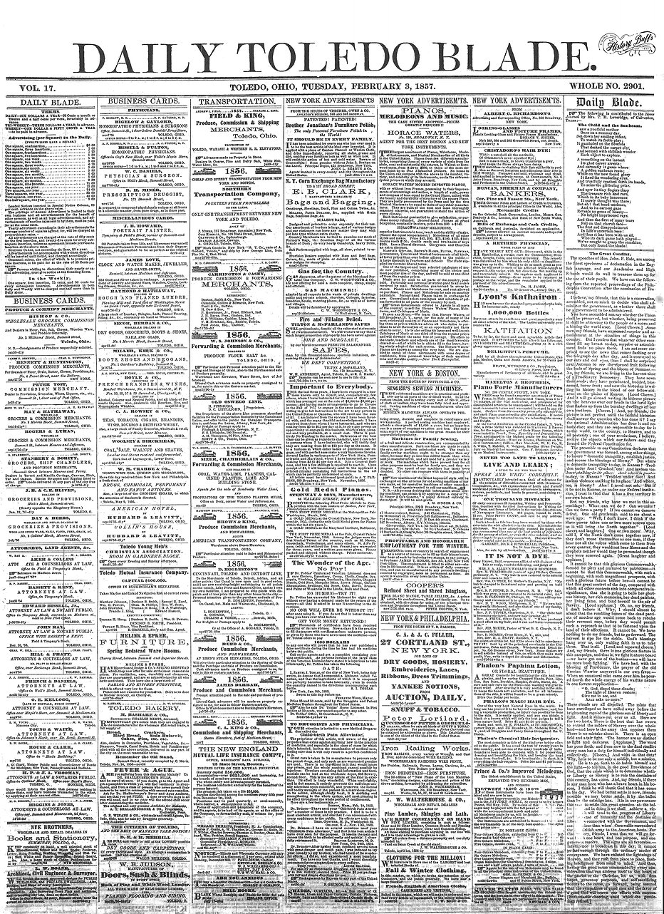 FEB 3 1857 FRONT PAGE NEWSPAPER