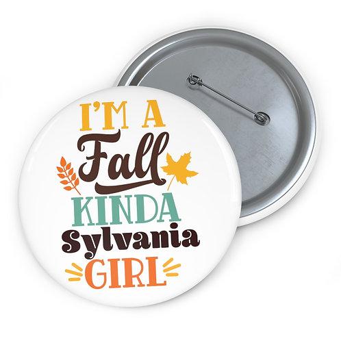 Fall Kinda Sylvania Girl Pin Buttons