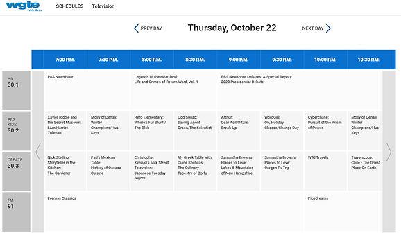 pbs schedule