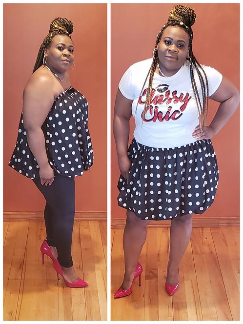 Curvy Girl Polka Dot Strapless Top/Skirt