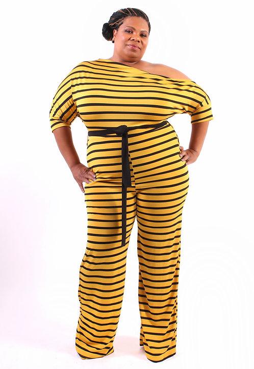 Curvy Girl Belted Off-Shoulder Jumpsuit